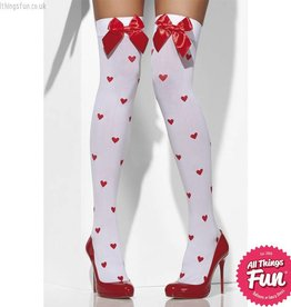 Smiffys White Opaque Hold Ups with Red Bows & Heart Print