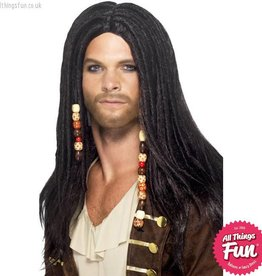 Smiffys Black Pirate Wig with Beads