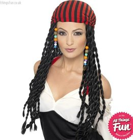 Smiffys Black Pirate Wig with Braids & Headscarf