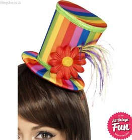 Smiffys *DISC* Rainbow Mini Top Hat on a Headband