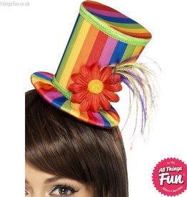 Smiffys Rainbow Mini Top Hat on a Headband