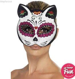 Smiffys Sugar Skull Cat Glitter Eyemask