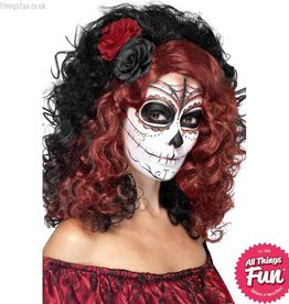 Smiffys Black Day of the Dead Wig with Roses