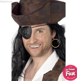Smiffys Pirate Black Eyepatch and Gold Earring