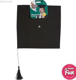 Smiffys Deluxe Black Mortar Board Hat with Tassle