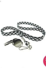 Smiffys Silver Metal Whistle on Black & White Lanyard