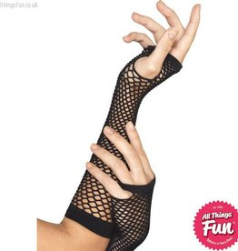 Smiffys Long Black Fishnet Gloves