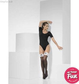 Smiffys French Maid Black Hold Ups with Lace Tops