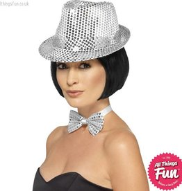 Smiffys Silver Sequin Trilby Hat