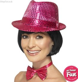 Smiffys Pink Sequin Trilby Hat