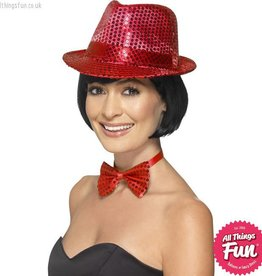 Smiffys Red Sequin Trilby Hat