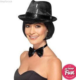 Smiffys Black Sequin Trilby Hat