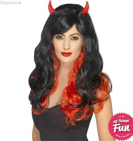 Smiffys Red & Black Devil Wig with Horns