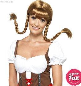 Smiffys Brown Bavarian Babe Wig, Plaited
