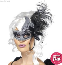 Smiffys Masquerade Dark Angel Silver & Black Eyemask with Feathers