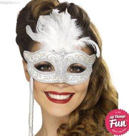 Smiffys Fever Baroque Fantasy Silver Eyemask