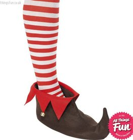 Smiffys Brown Elf Shoes with Bells