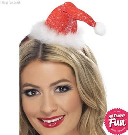Smiffys Mini Glitter Santa Hat on a Headband
