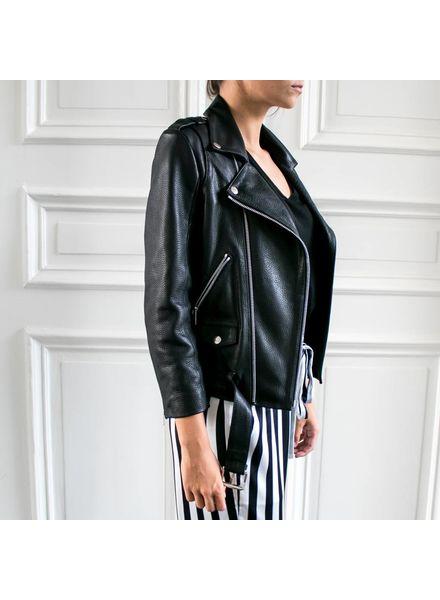 Anine Bing Cropped Moto Jacket - Black