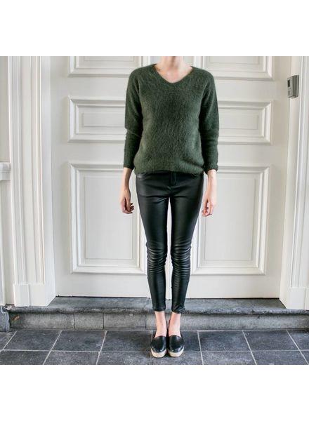 Anine Bing Biker Leather Pants - Black