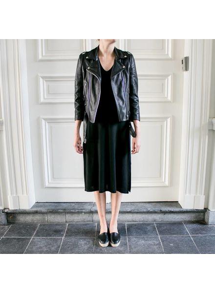 Anine Bing Deep V-Tshirt dress - Black