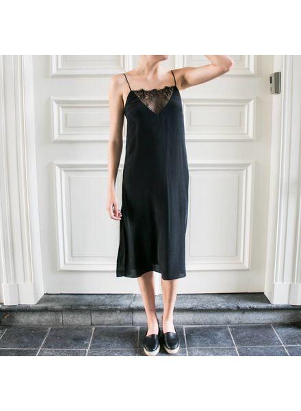 Anine Bing Deep V Lace Slip Dress - Black