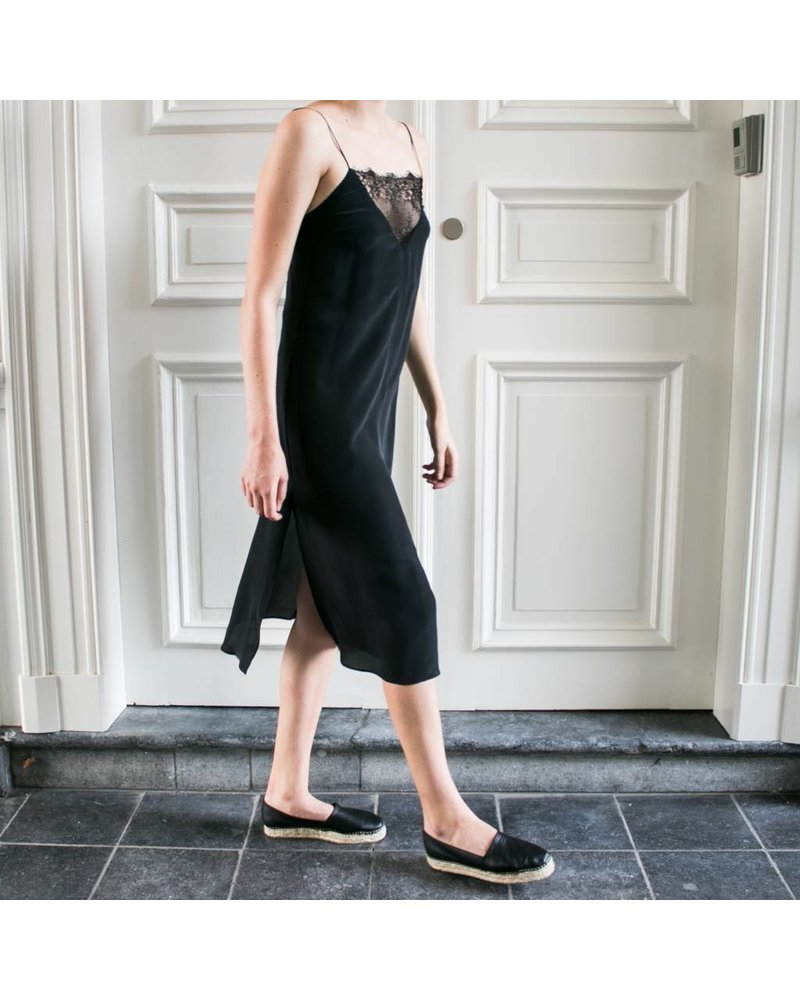 Anine Bing Deep V Lace Slip Dress