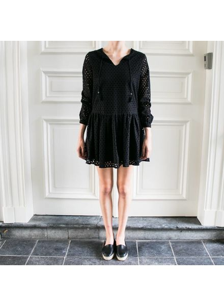 Anine Bing Longsleeve Eyelet Dress - Black