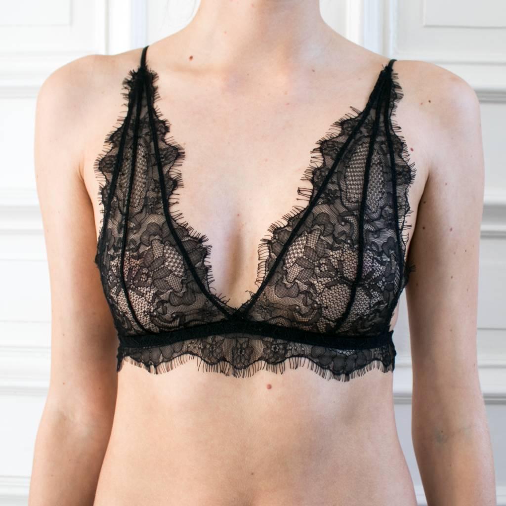 061457ccb2b2d ... Anine Bing Delicate Lace Bra - Black ...