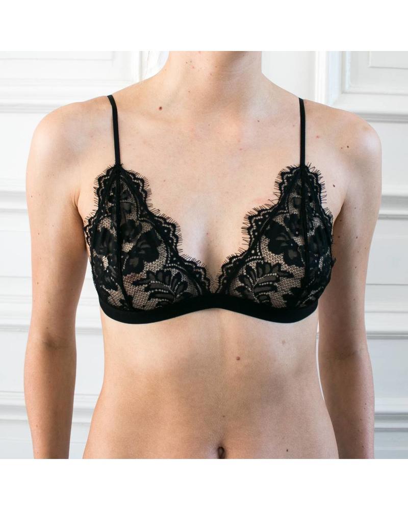 Anine Bing Floral lace bra - Black