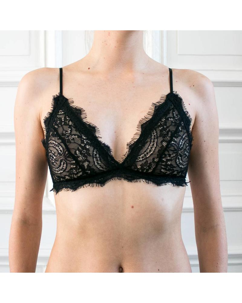 Anine Bing Lace Bra with Trim - Black