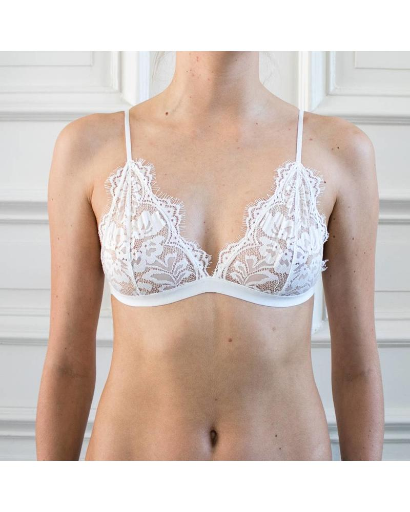 Anine Bing Floral lace bra - White