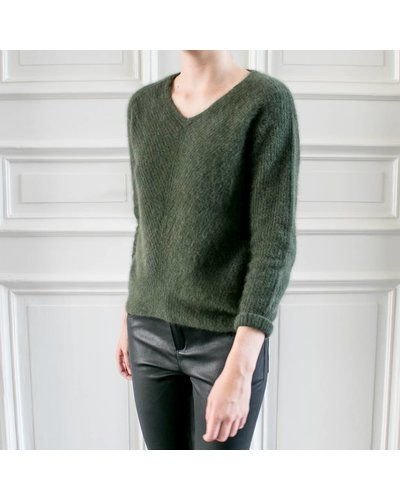 CT Plage Knitted racoon Vneck pullover - Khaki