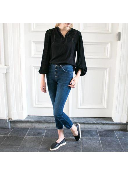 Anine Bing Plisse Long Sleeve Blouse - Black