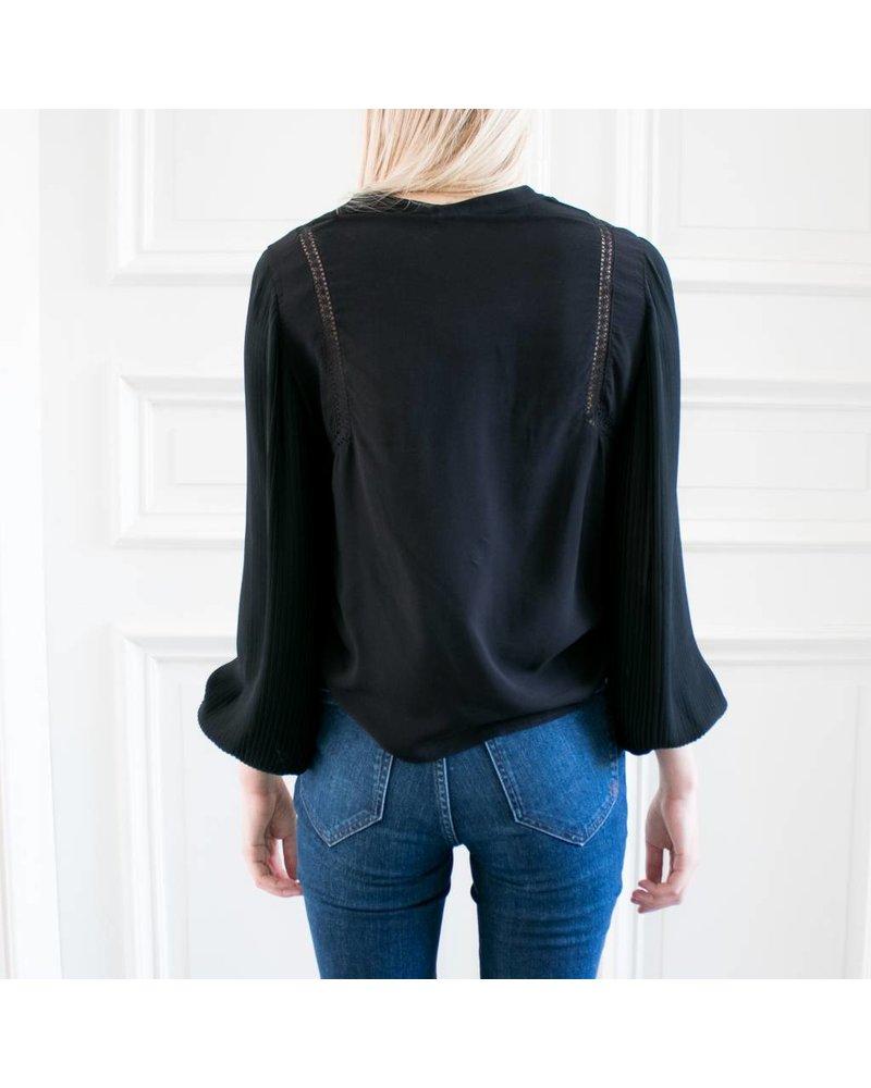 Anine Bing AB0  Plisse Long Sleeve Blouse