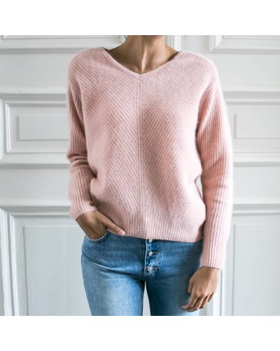 CT Plage Knitted racoon Vneck pullover - Pink