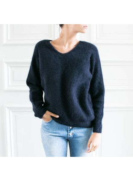 CT Plage Knitted racoon Vneck pullover - Navy