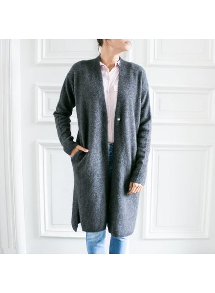 CT Plage Long knitted racoon cardigan - Dark grey