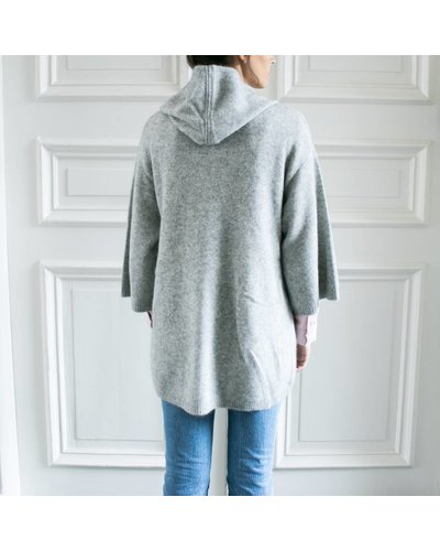CT Plage Knitted racoon hoodie - Light grey