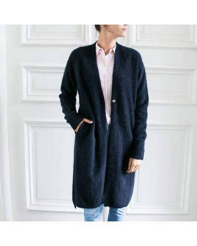 CT Plage Long knitted racoon cardigan - Navy