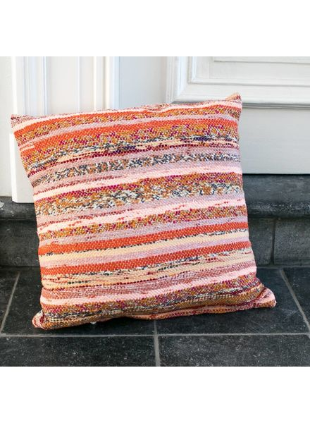 Pillow Small - Orange / Pink stripe