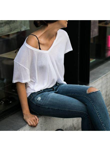 Anine Bing Deep Vneck T-shirt - White