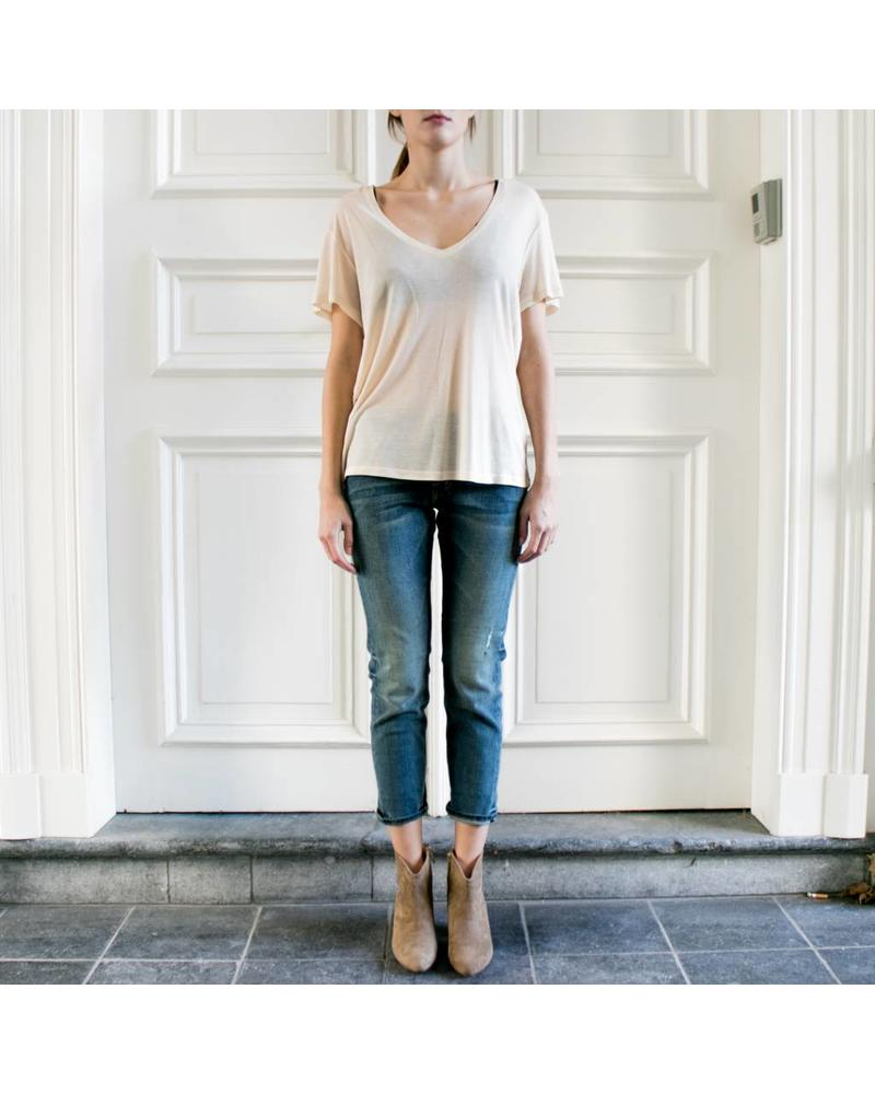Anine Bing Deep Vneck T-shirt - Beige