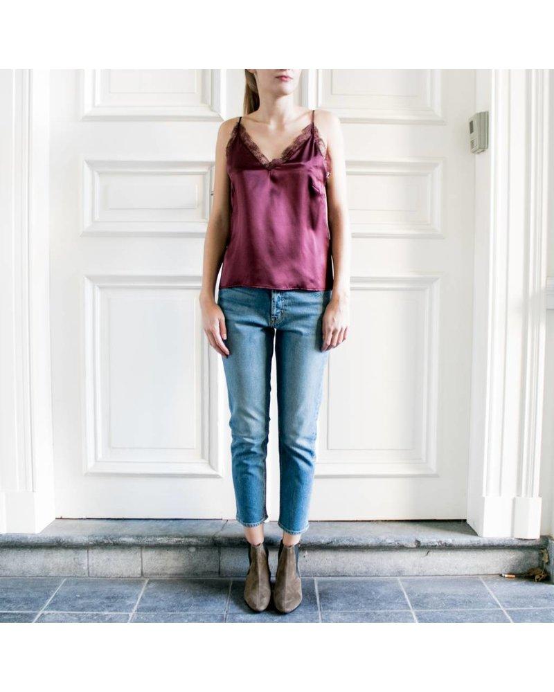Anine Bing Deep V lace camisole - Burgundy