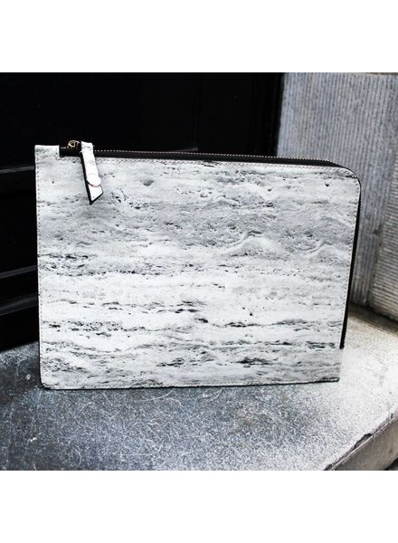 Black Tailors Marble Zip Clutch - Travertine