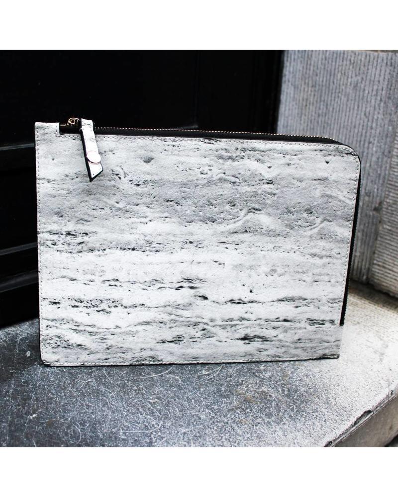 Black Tailors Marble Zip Clutch - Travertine