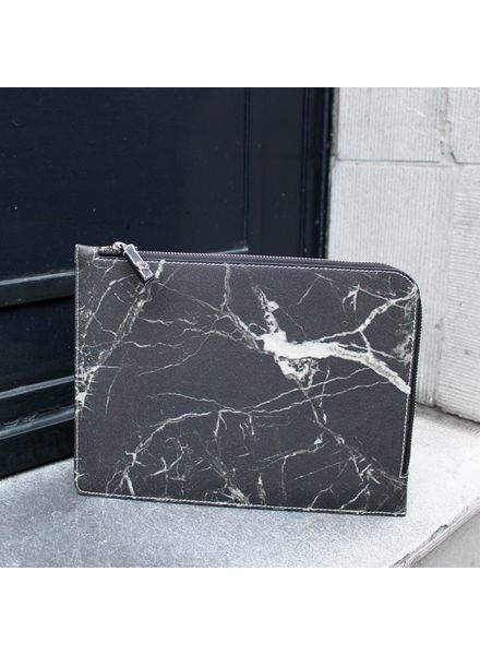 Black Tailors Marble Zip Clutch - Marquina