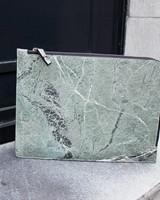 Black Tailors Marble Zip Clutch - Serpentine