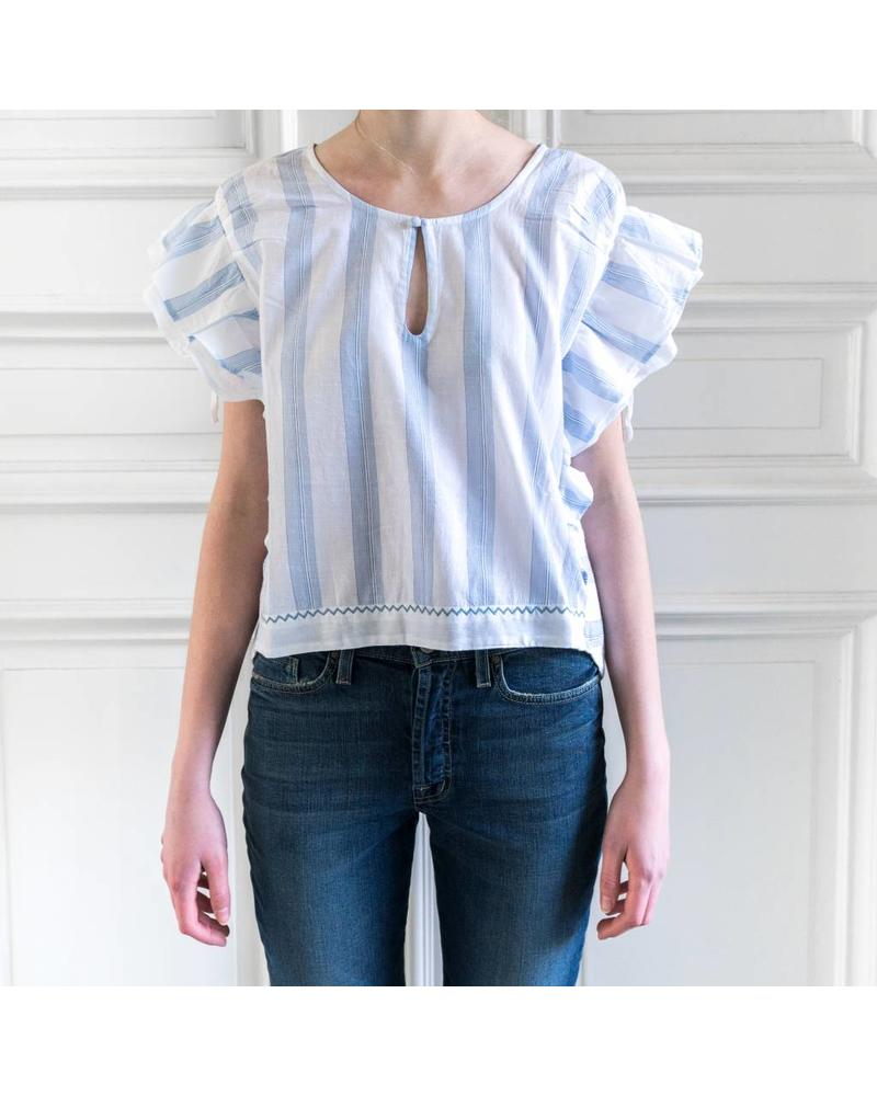 Loa by Lidia Aguilera Crop blouse frill - Stripes