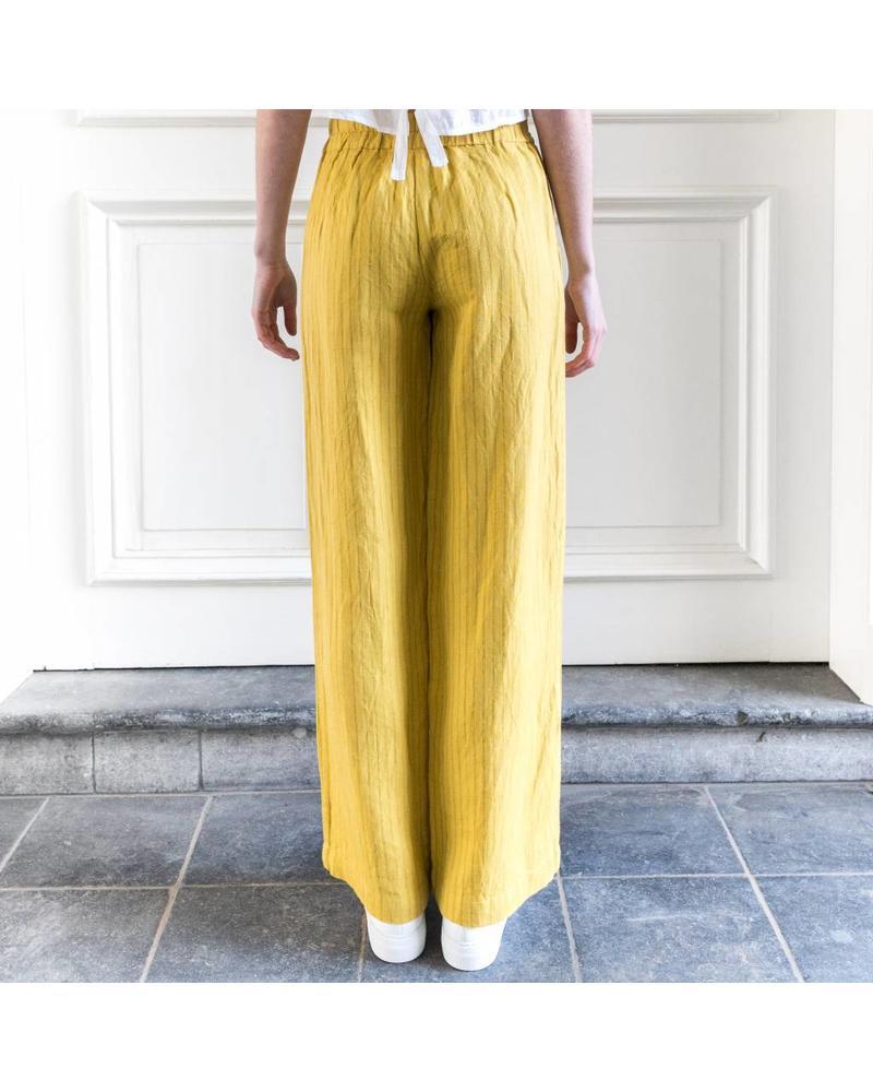 Loa by Lidia Aguilera Pants wide leg waist bow - Ochre